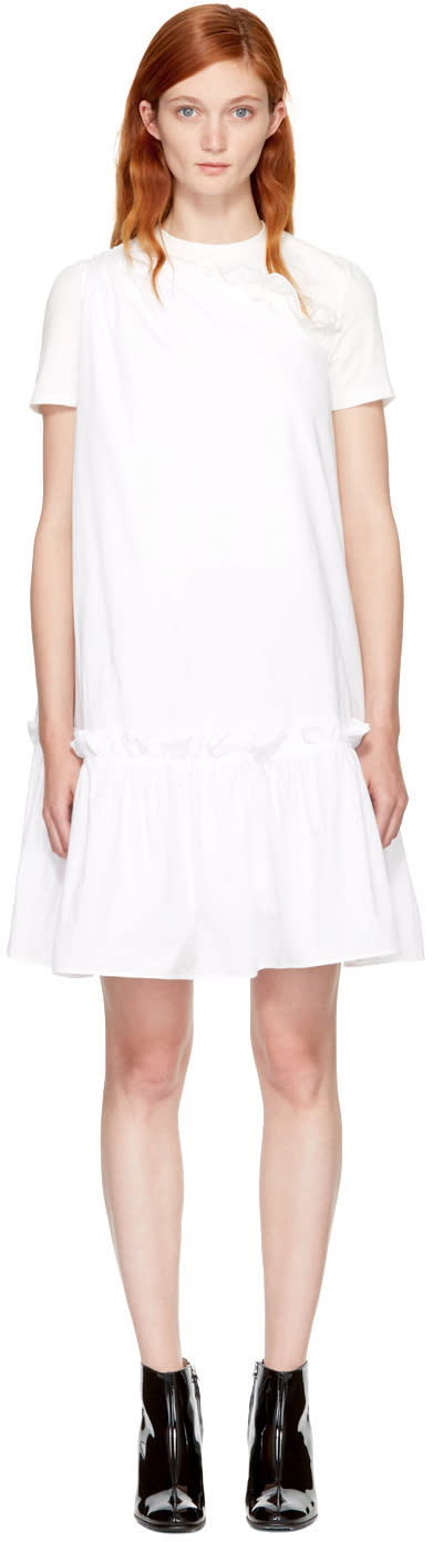 Image of Edit White Single-shoulder Dress