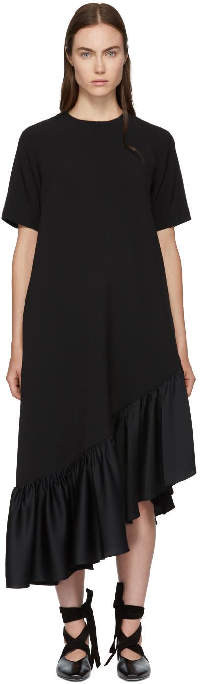 Image of Edit Black Asymmetric Oversized Peplum Dress