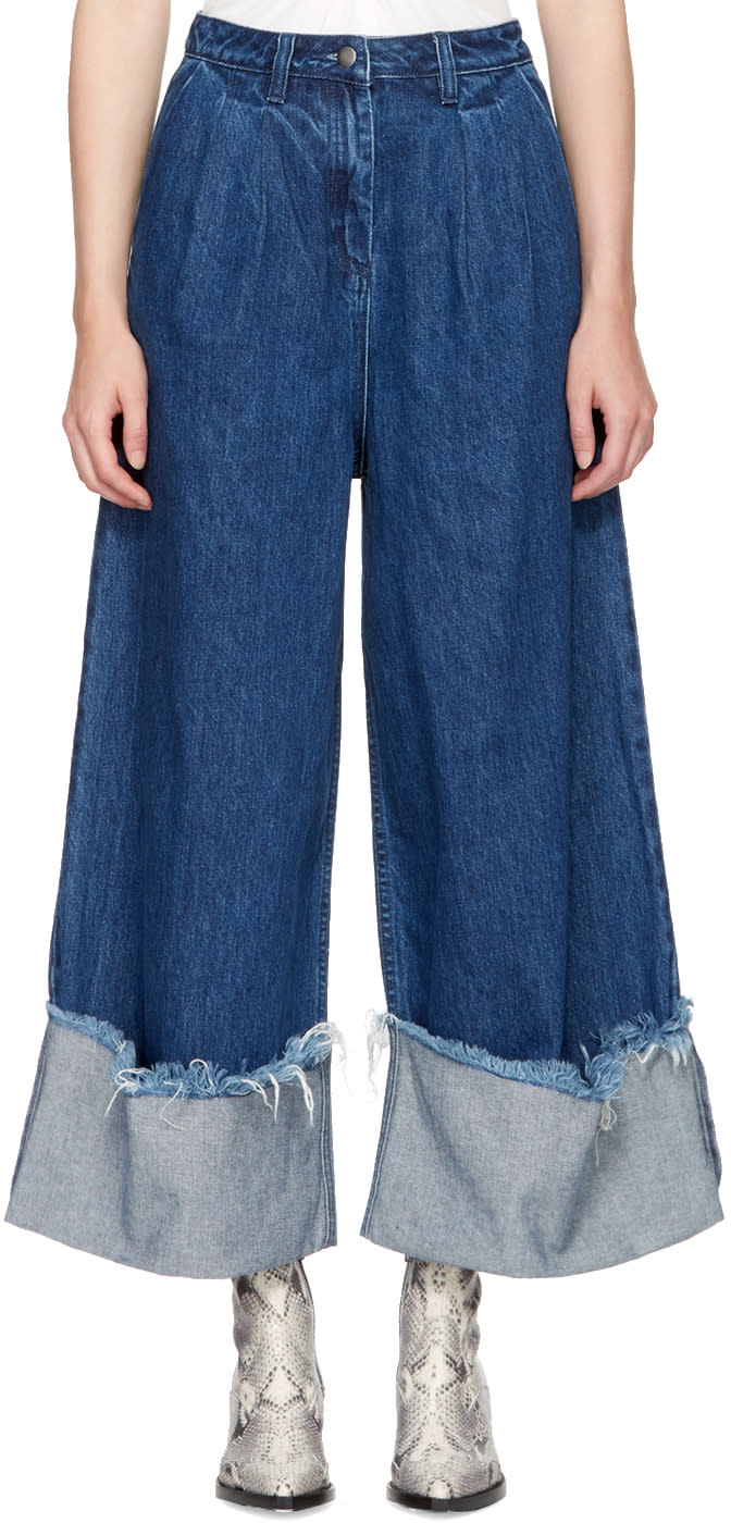 Image of Edit Blue Cuffed Denim Culottes