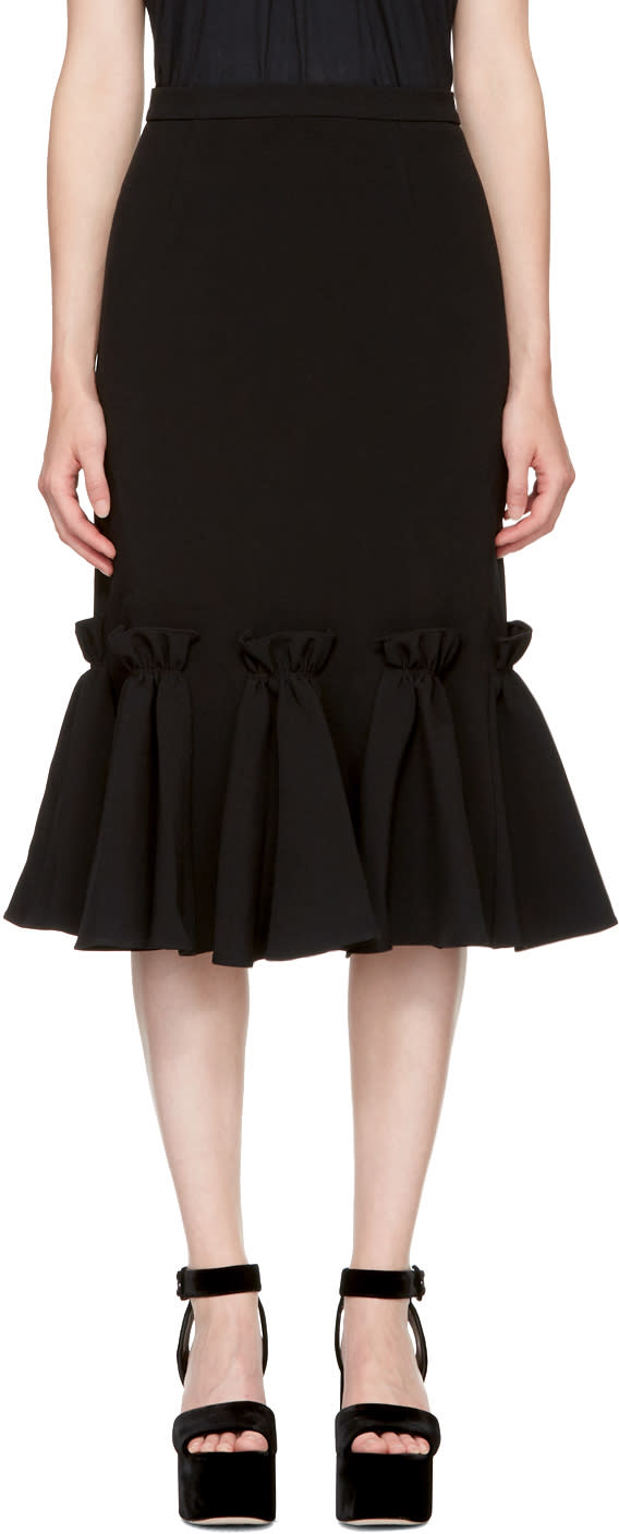 Image of Edit Black Ruffled Hem Skirt