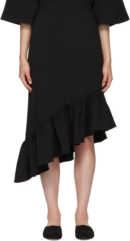 Image of Edit Black Asymmetric Peplum Skirt