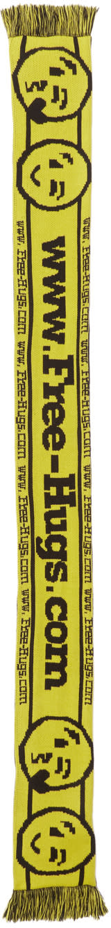 Image of Vetements Black and Yellow Reebok Edition free Hugs.com Scarf