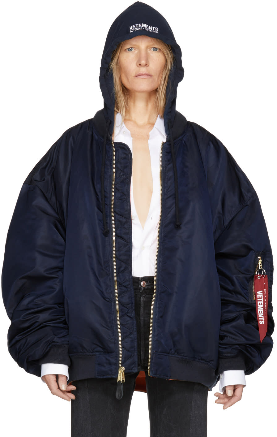 Vetements Reversible Navy Alpha Industries Edition Hooded Bomber