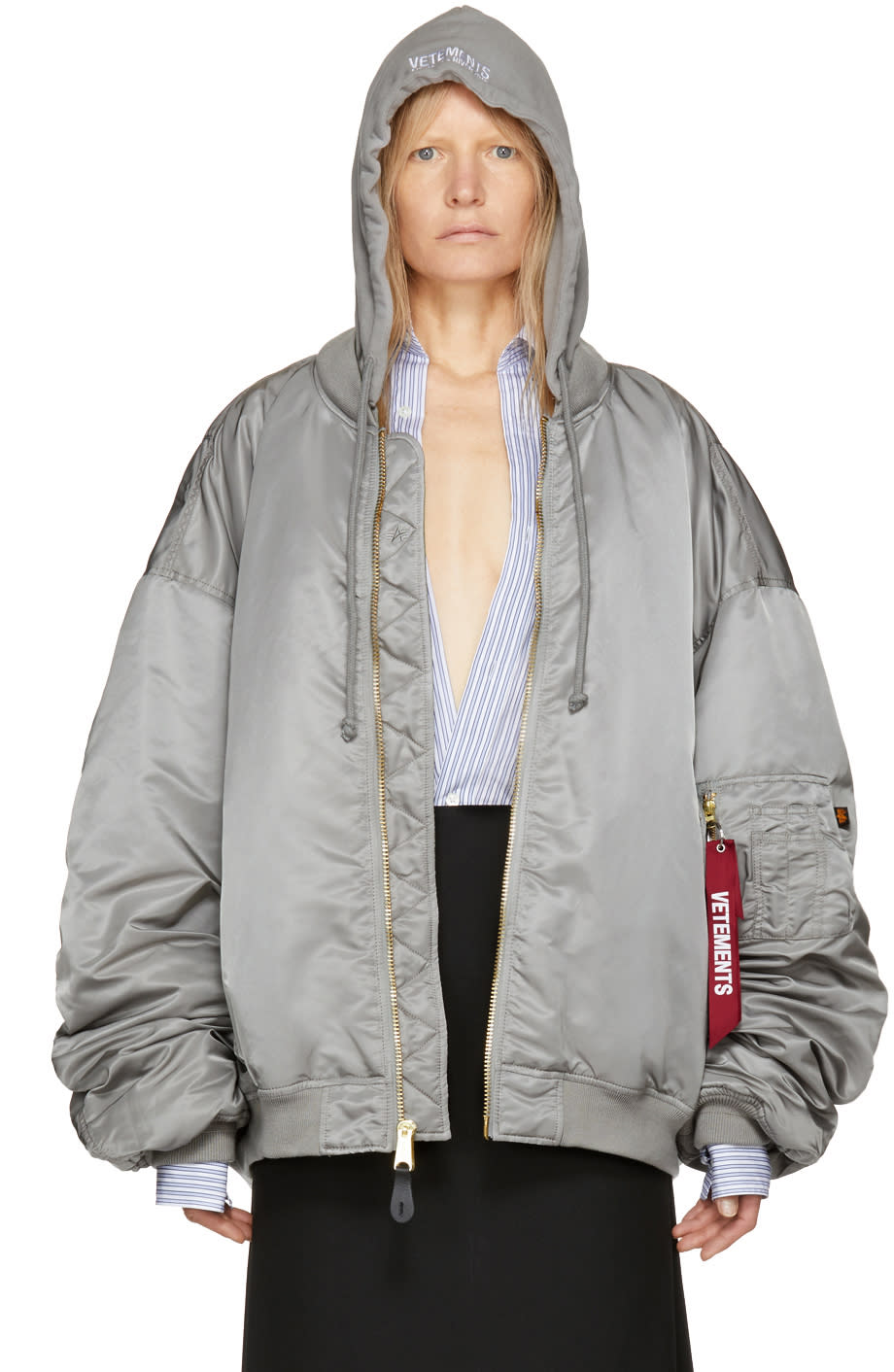 Vetements Reversible Grey Alpha Industries Edition Hooded Bomber