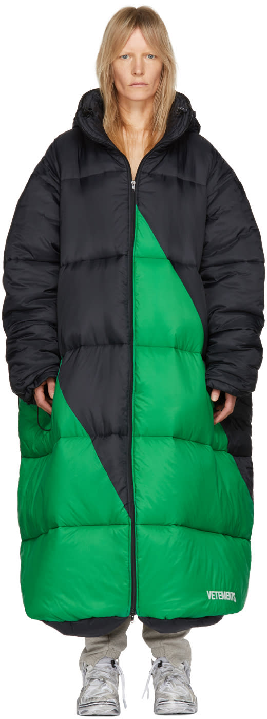 Image of Vetements Black and Green Vagabond Sleeping Bag Puffer Coat
