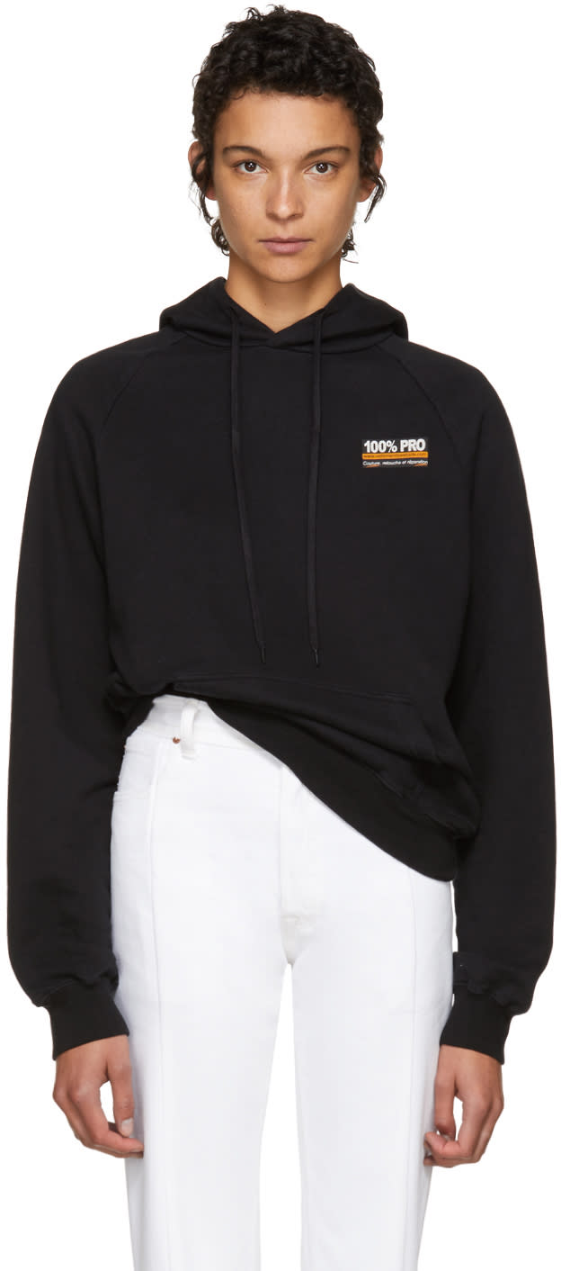Image of Vetements Black 100% Pro Normal Fitted Hoodie