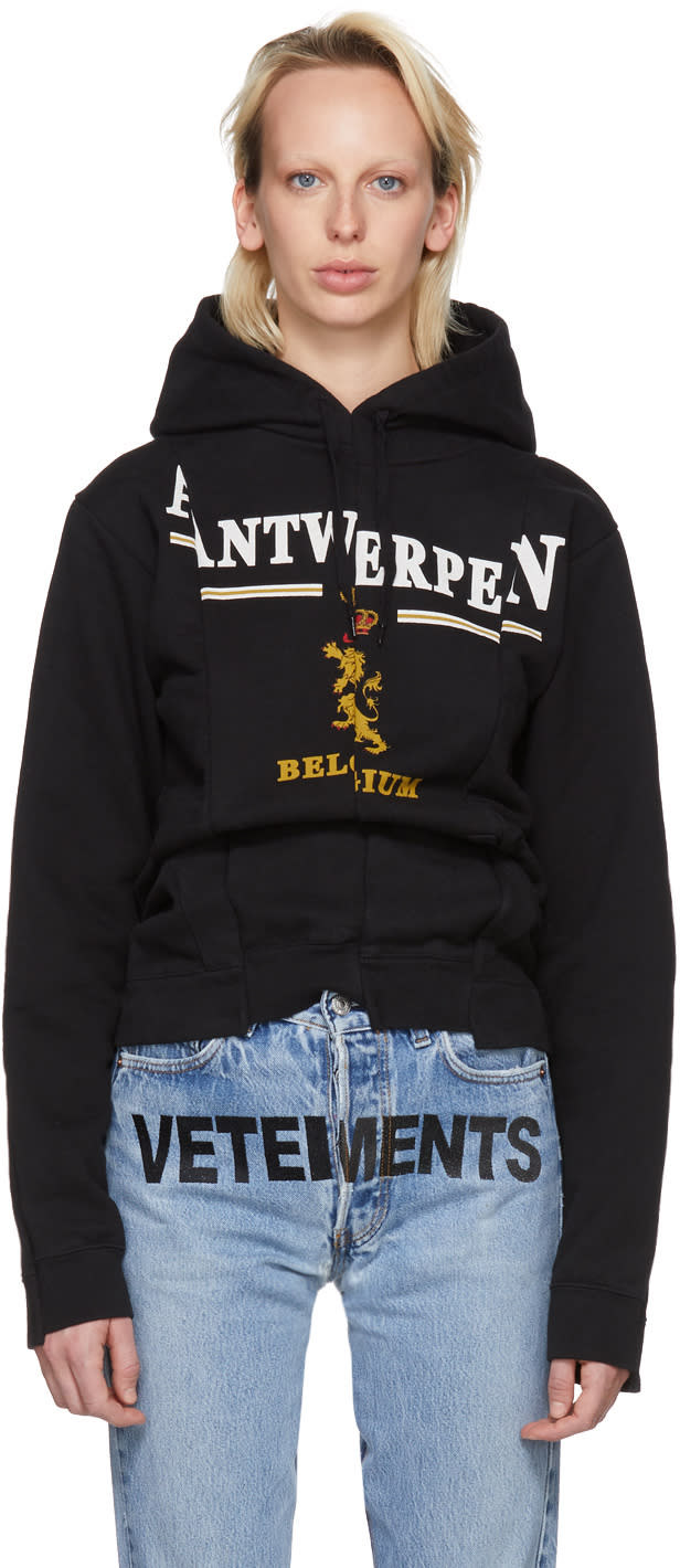 Image of Vetements Black antwerp Fitted Cut Up Hoodie