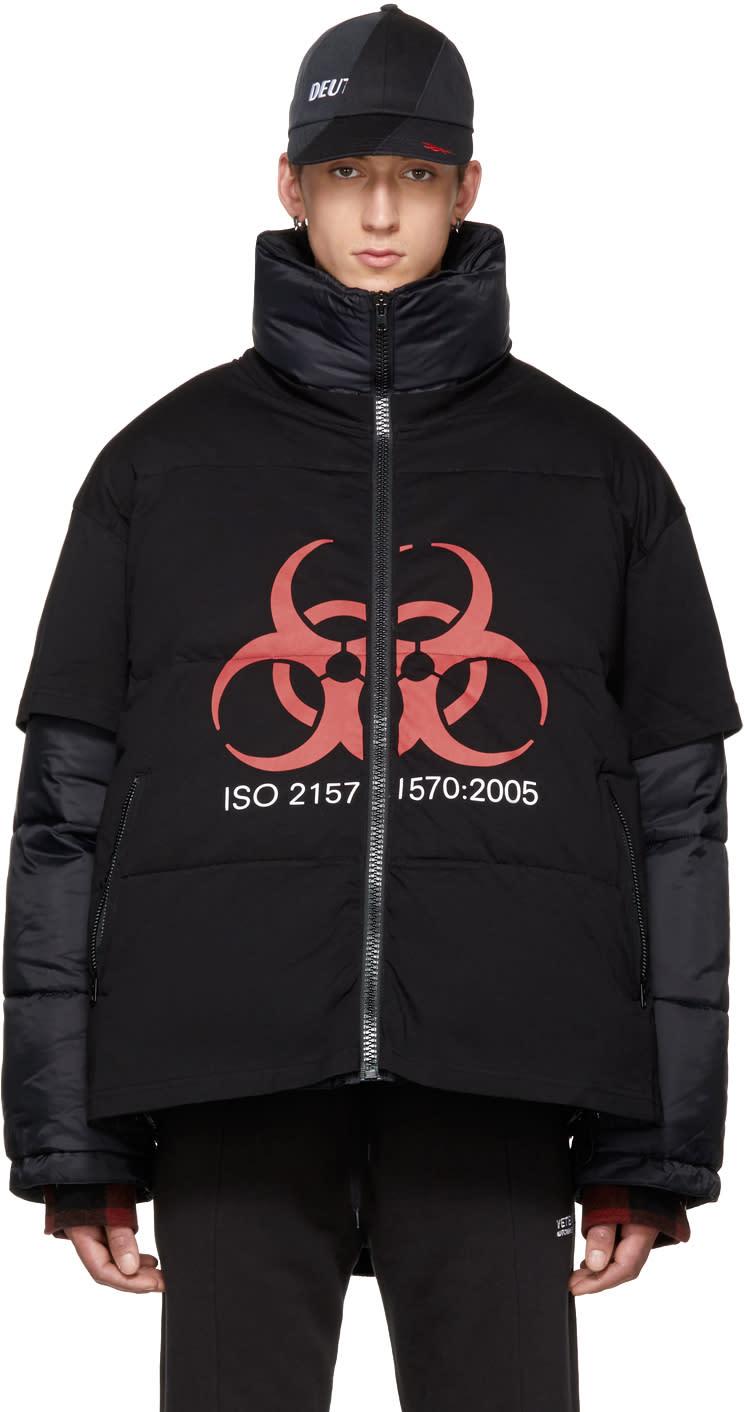 Image of Vetements Black genetically Modified Volunteer Puffer Jacket