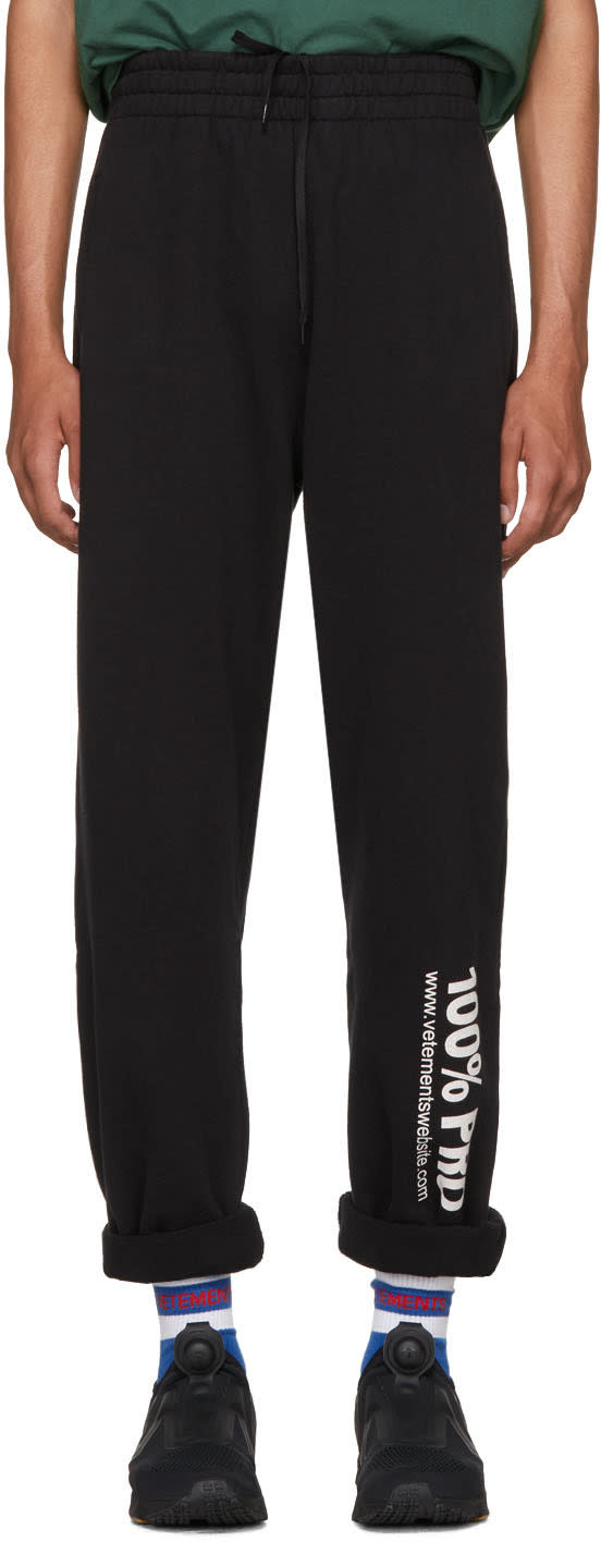 Image of Vetements Black 100% Pro Baggy Lounge Pants