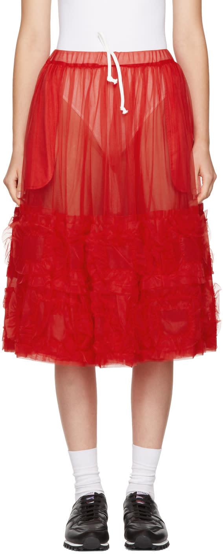 Image of Comme Des Garçons Girl Red Ruffled Tulle Skirt