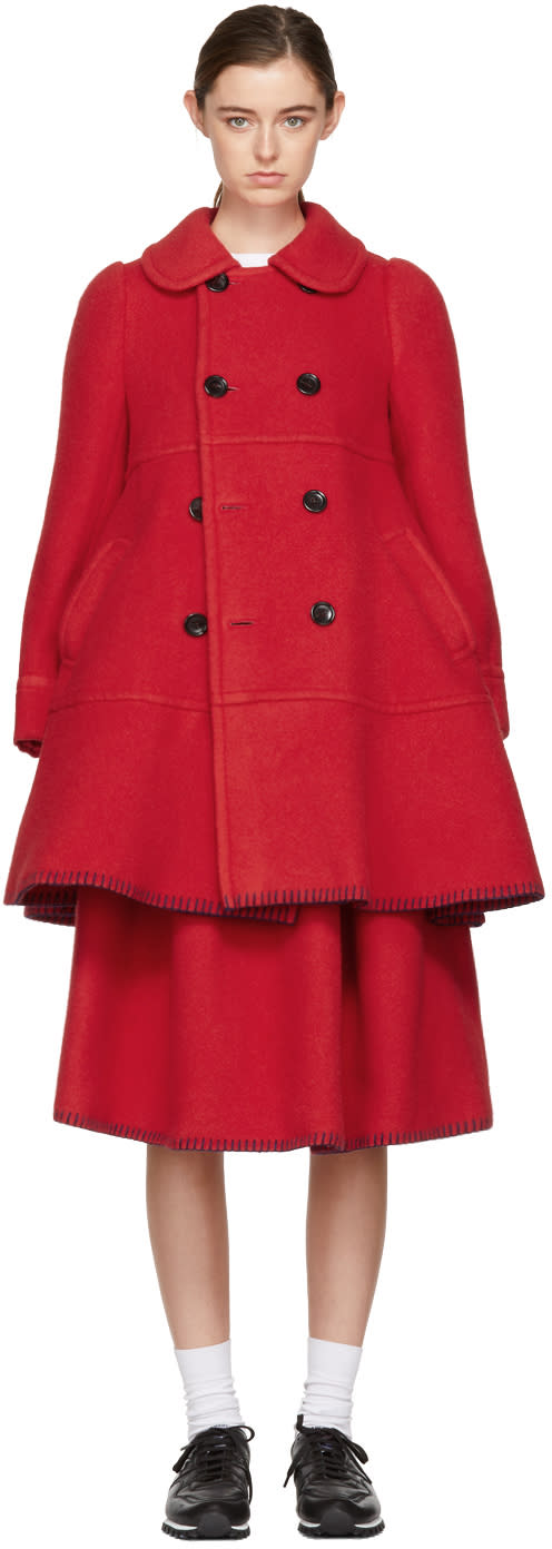 Image of Comme Des Garçons Girl Red Double-breasted Blanket Coat