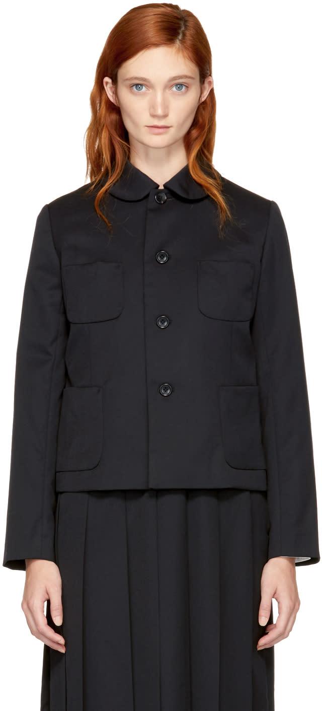 Image of Comme Des Garçons Girl Black Round Collar Pocket Blazer