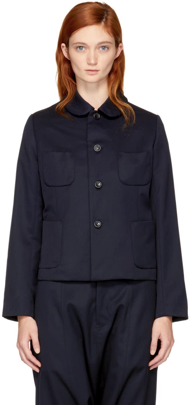 Image of Comme Des Garçons Girl Navy Round Collar Pocket Blazer