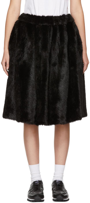 Image of Comme Des Garçons Girl Black Faux-fur Skirt