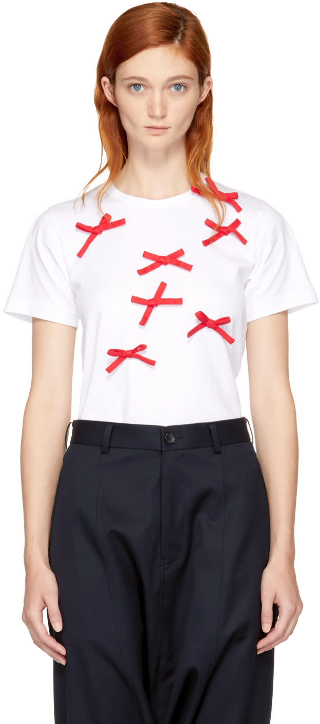 Image of Comme Des Garçons Girl White and Red Bows T-shirt