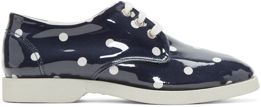 Image of Comme Des Garçons Girl Navy and White Pvc Polka Dot Sneakers