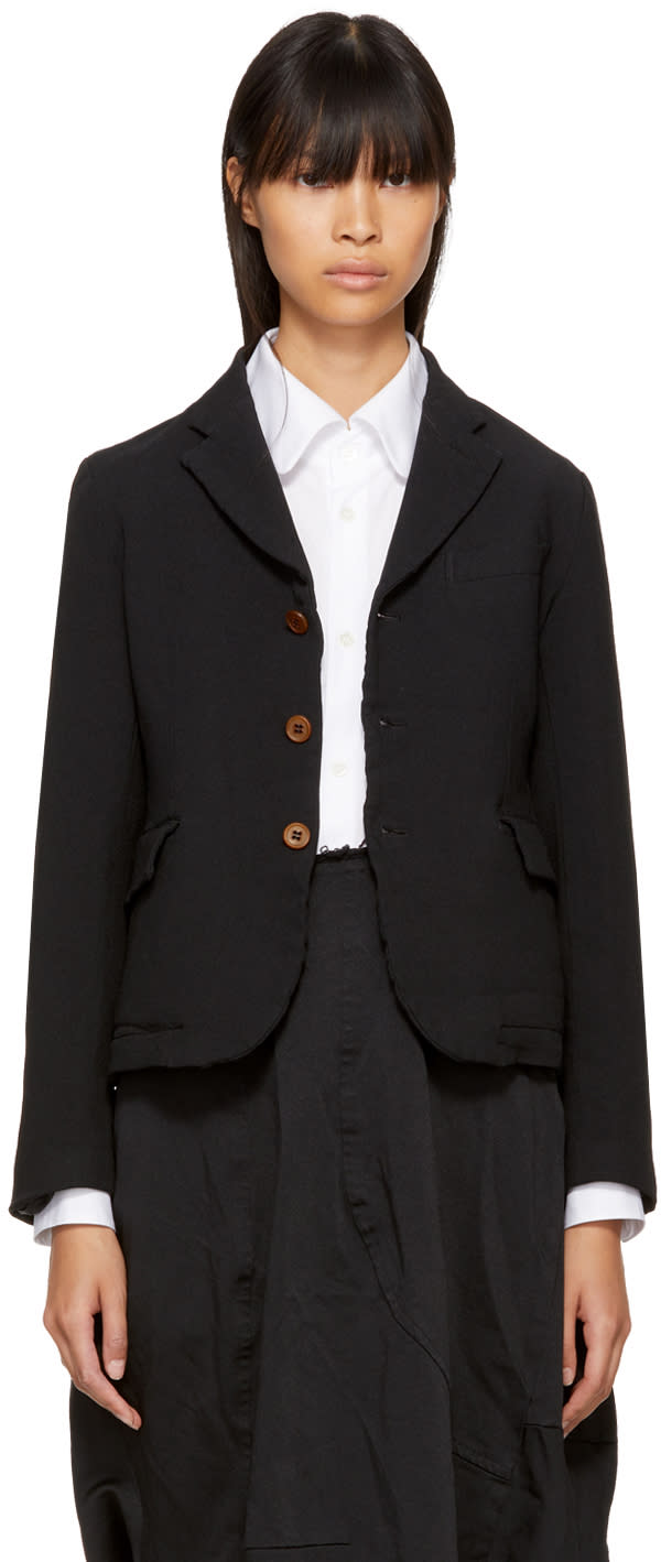 Image of Comme Des Garçons Comme Des Garçons Black Double Cloth Blazer