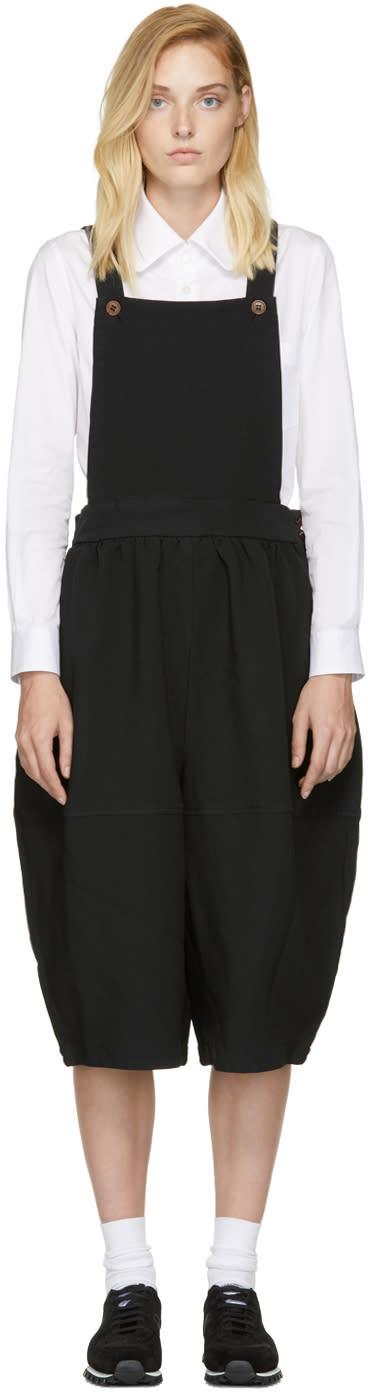 Image of Comme Des Garçons Comme Des Garçons Black Cropped Wide-leg Overalls
