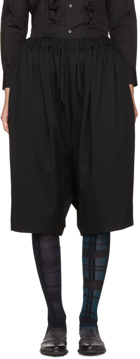 Image of Comme Des Garçons Comme Des Garçons Black Wide-leg Cropped Trousers