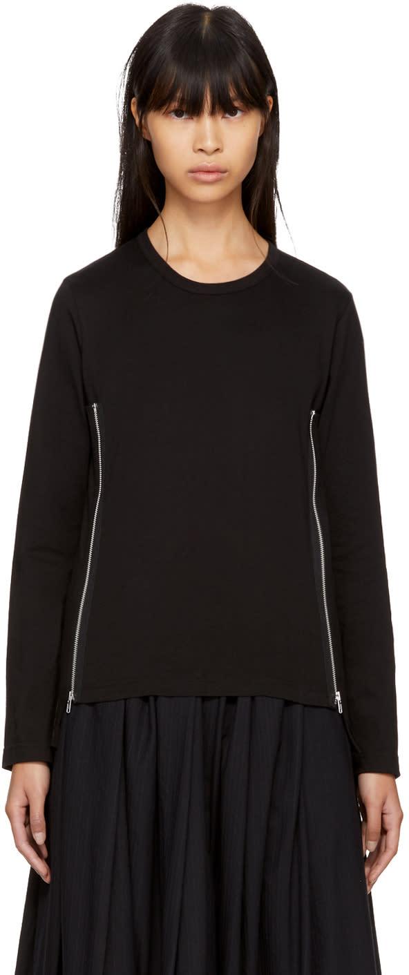 Image of Comme Des Garçons Comme Des Garçons Black Long Sleeve Side Zip T-shirt