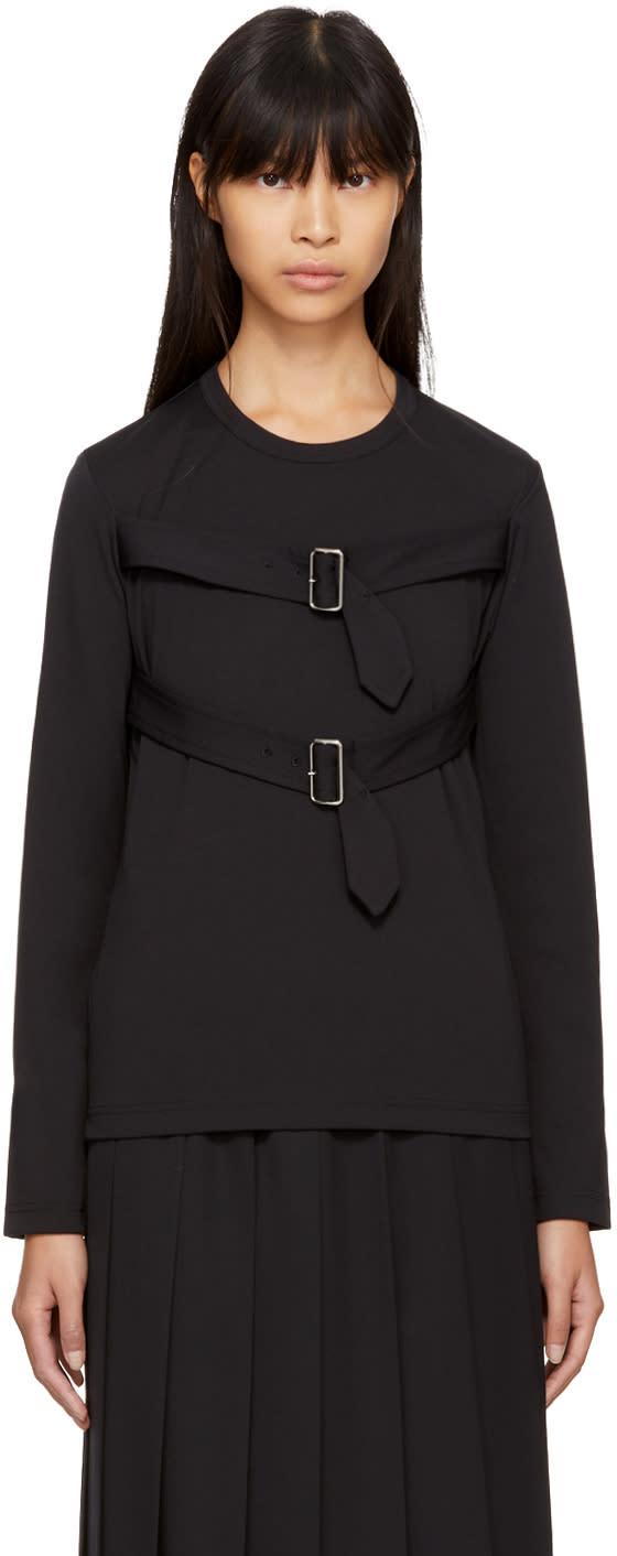 Image of Comme Des Garçons Comme Des Garçons Black Long Sleeve Belt T-shirt