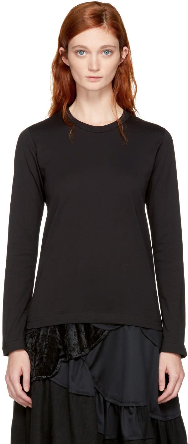 Image of Comme Des Garçons Comme Des Garçons Black Long Sleeve Cotton T-shirt