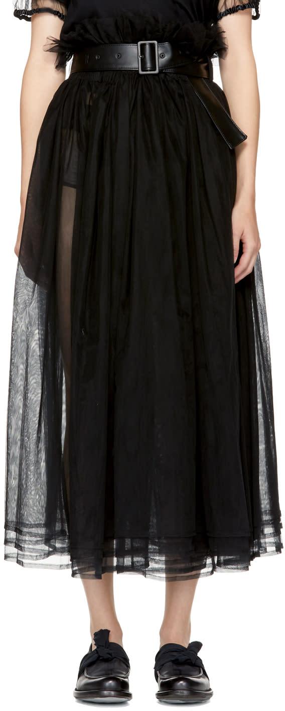 Image of Noir Kei Ninomiya Black Gathered Tulle Skirt