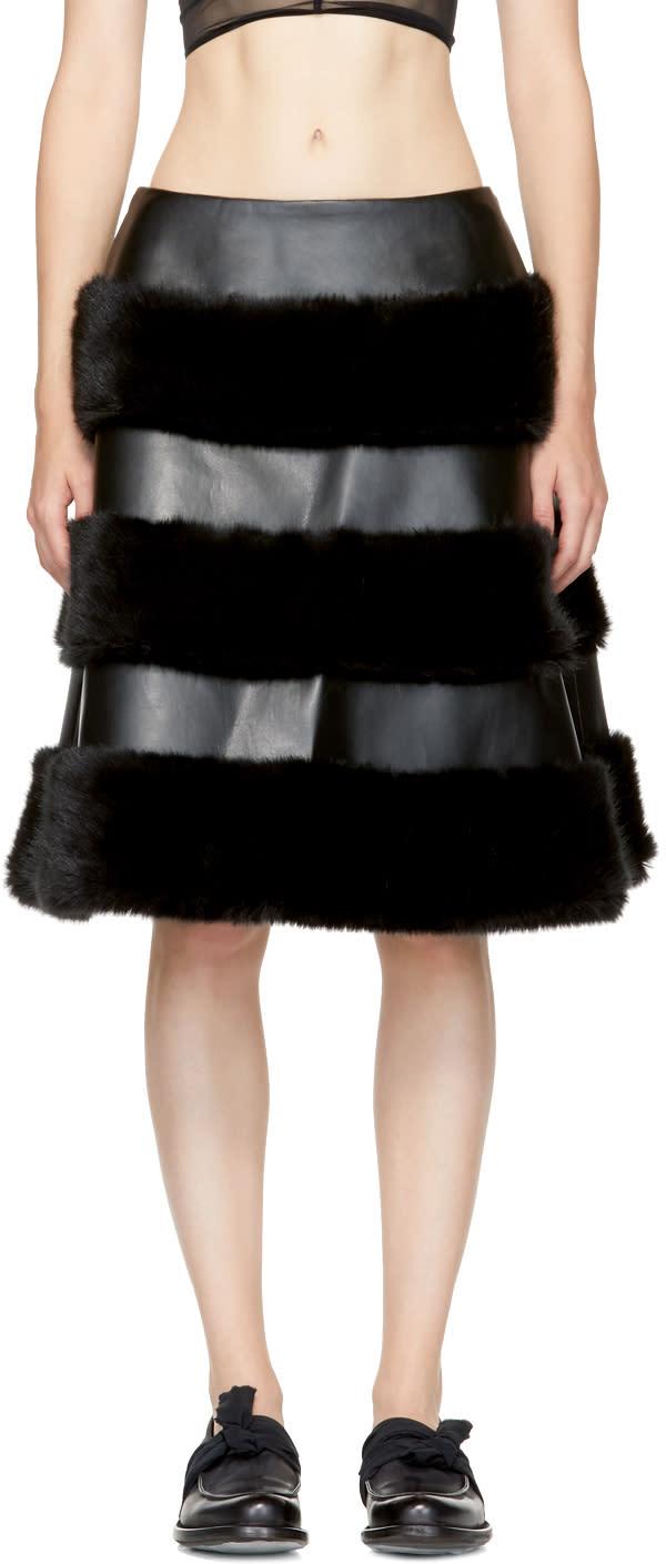 Image of Noir Kei Ninomiya Black Faux-leather Skirt