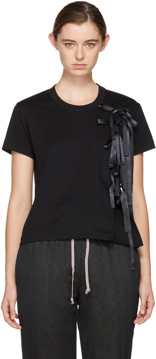 Image of Noir Kei Ninomiya Black Satin Ribbon T-shirt