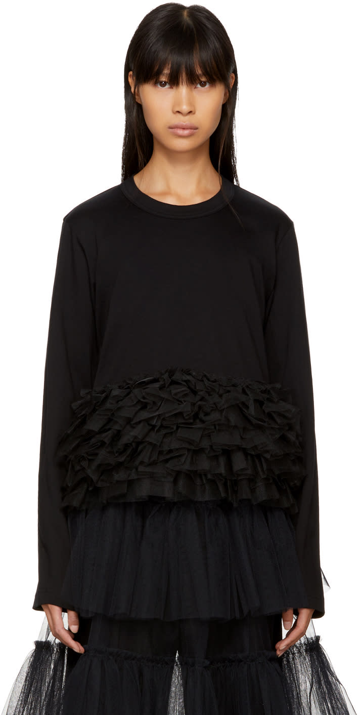 Image of Noir Kei Ninomiya Black Long Sleeve Tulle Frill T-shirt