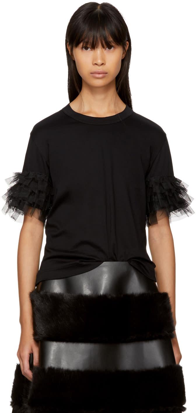 Image of Noir Kei Ninomiya Black Ruffle Sleeve T-shirt