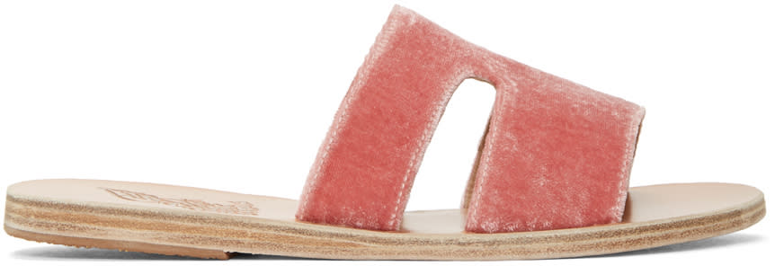 Image of Ancient Greek Sandals Pink Velvet Aptero Sandals