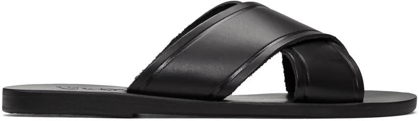 Image of Ancient Greek Sandals Black Thais Sandals