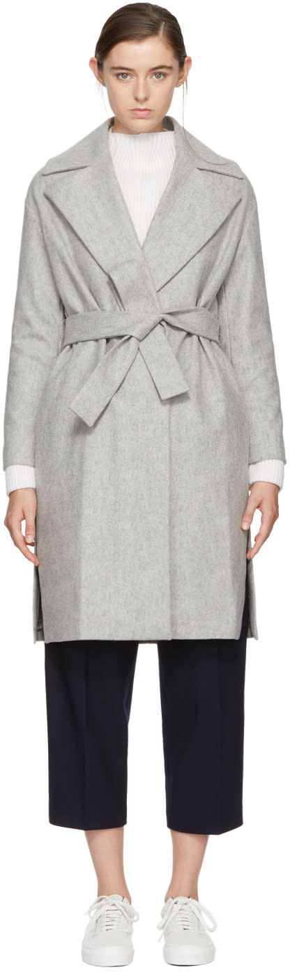 Image of Harmony Grey Maggy Belted Wool Coat