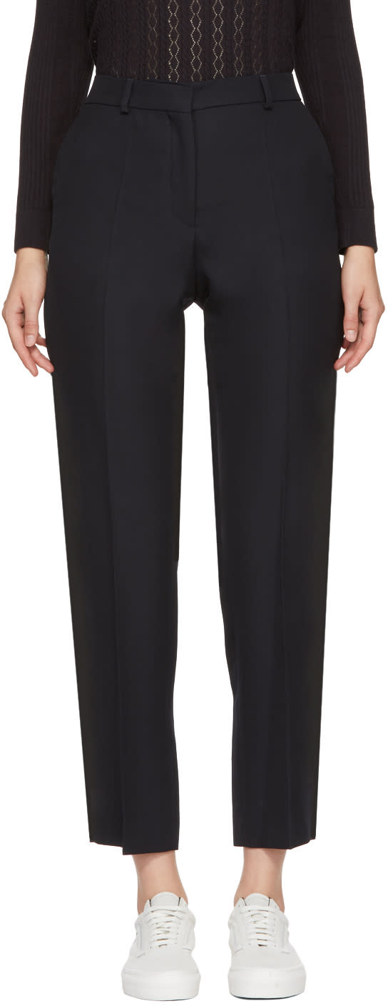 Image of Harmony Navy Wool Paula Trousers