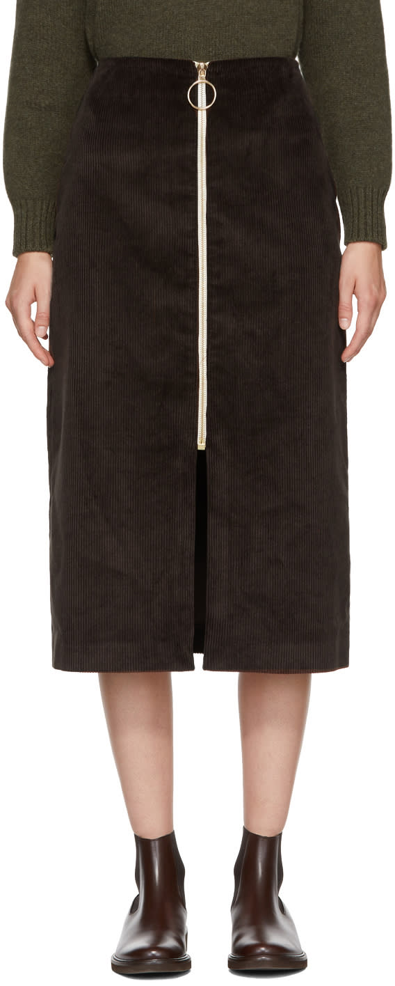 Image of Harmony Brown Corduroy Janisse Front-zip Skirt