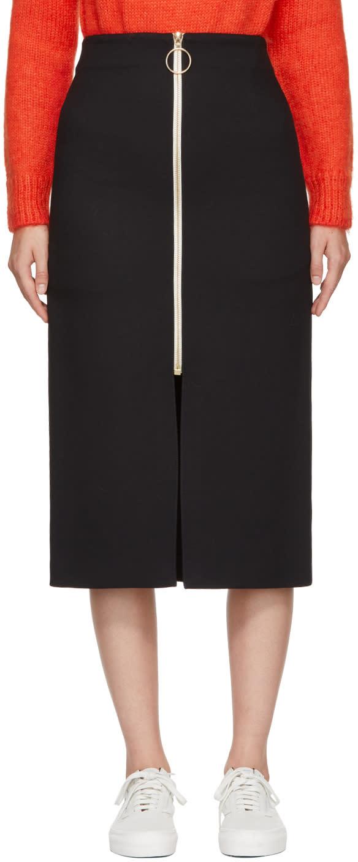 Image of Harmony Navy Gabardine Janisse Front-zip Skirt