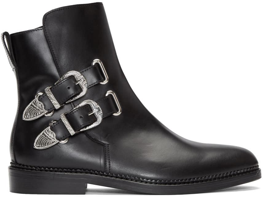 Image of Toga Virilis Black Buckled Chelsea Boots