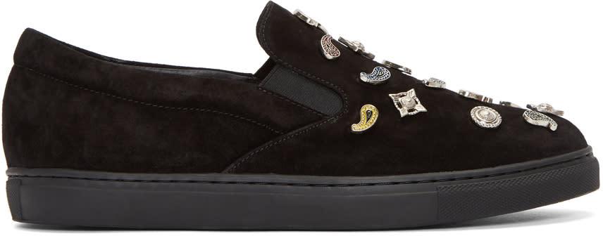 Toga Virilis Black Suede Slip-on Sneakers
