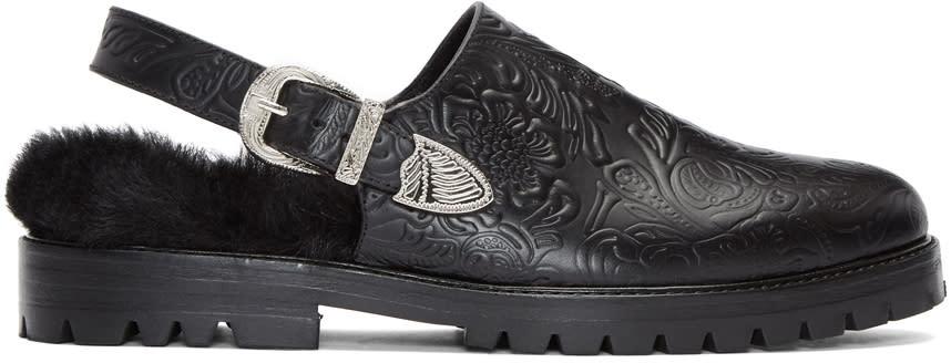 Toga Virilis Black Embossed Open-back Loafers