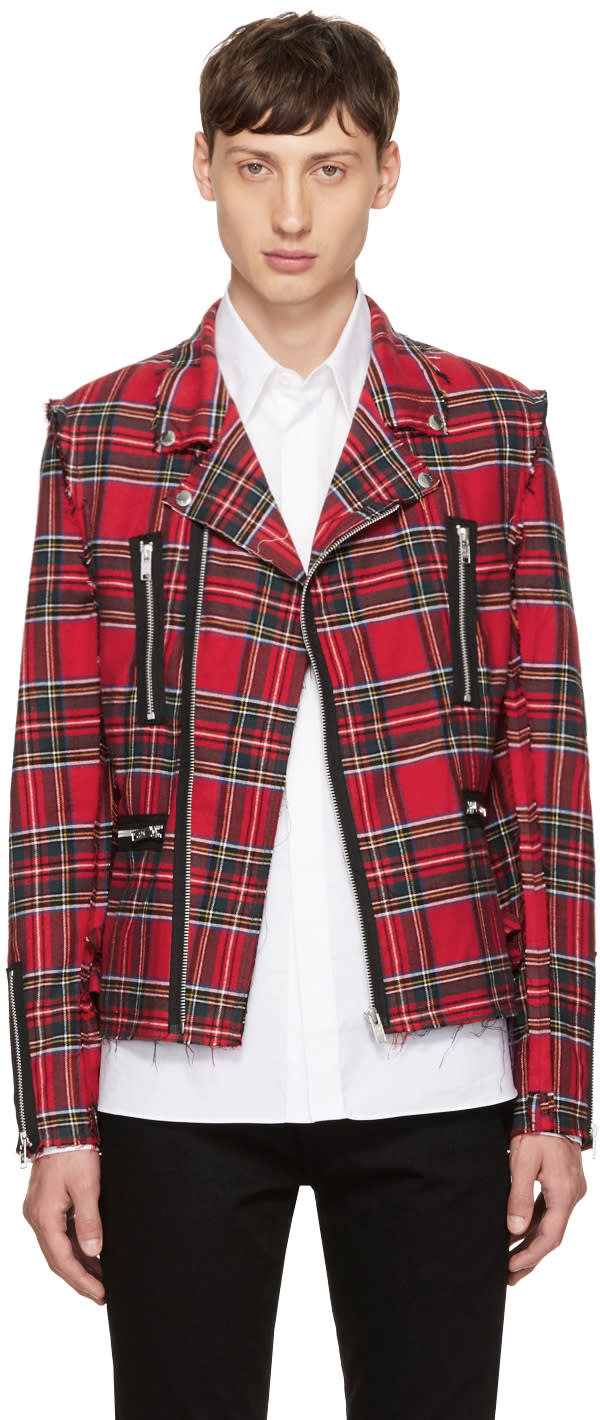 Image of 99% Is Red Tartan Rider Jacket