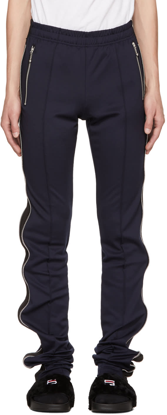 Image of 99% Is Navy and Black Super Long Zip Track Pants