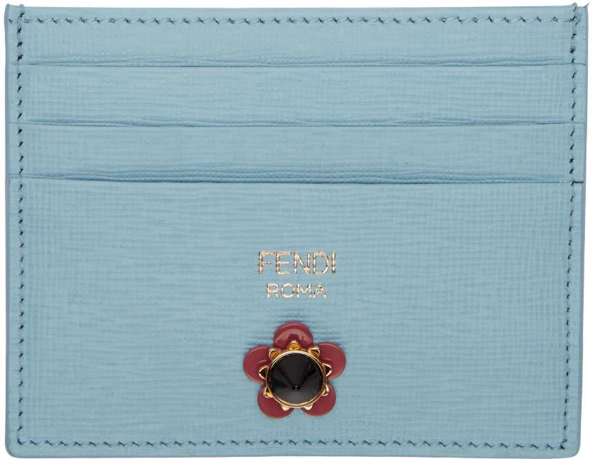 Fendi Blue Flowerland Card Holder