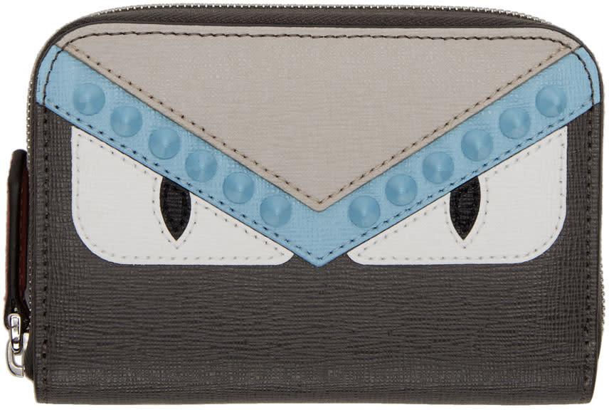 Fendi Grey Mini bag Bugs Zip Around Wallet