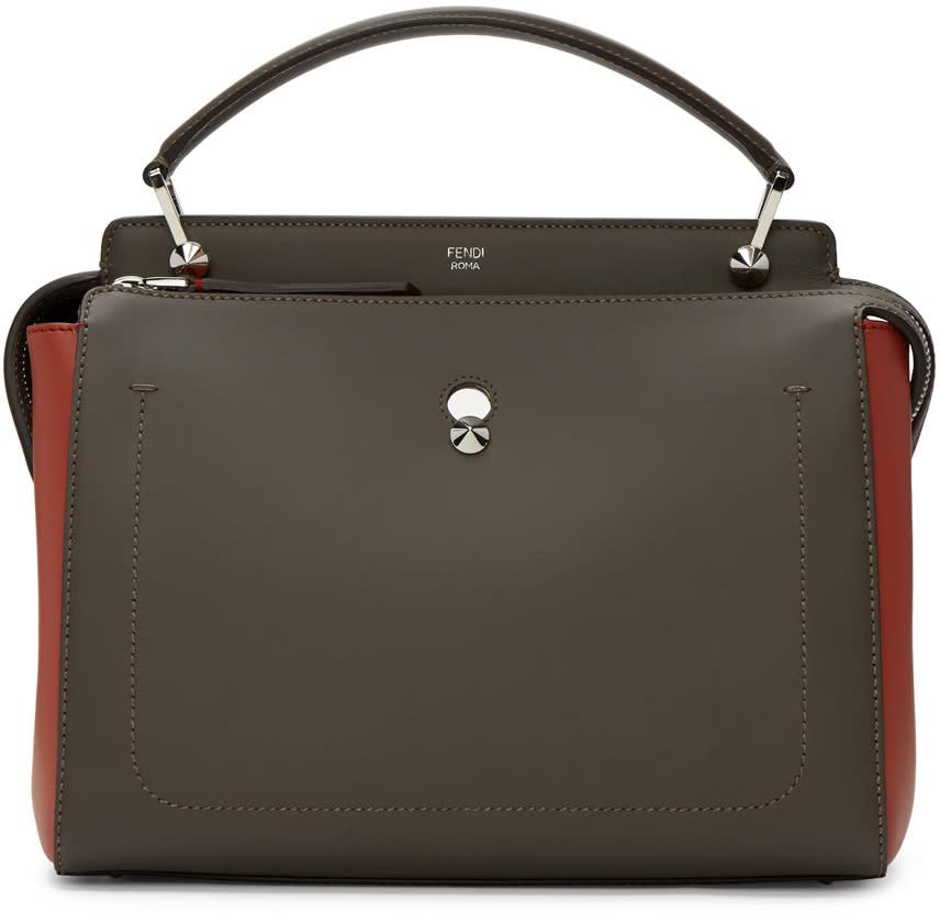 Fendi Taupe and Red Dotcom Click Bag