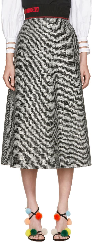 Fendi Black and White Houndstooth Skirt