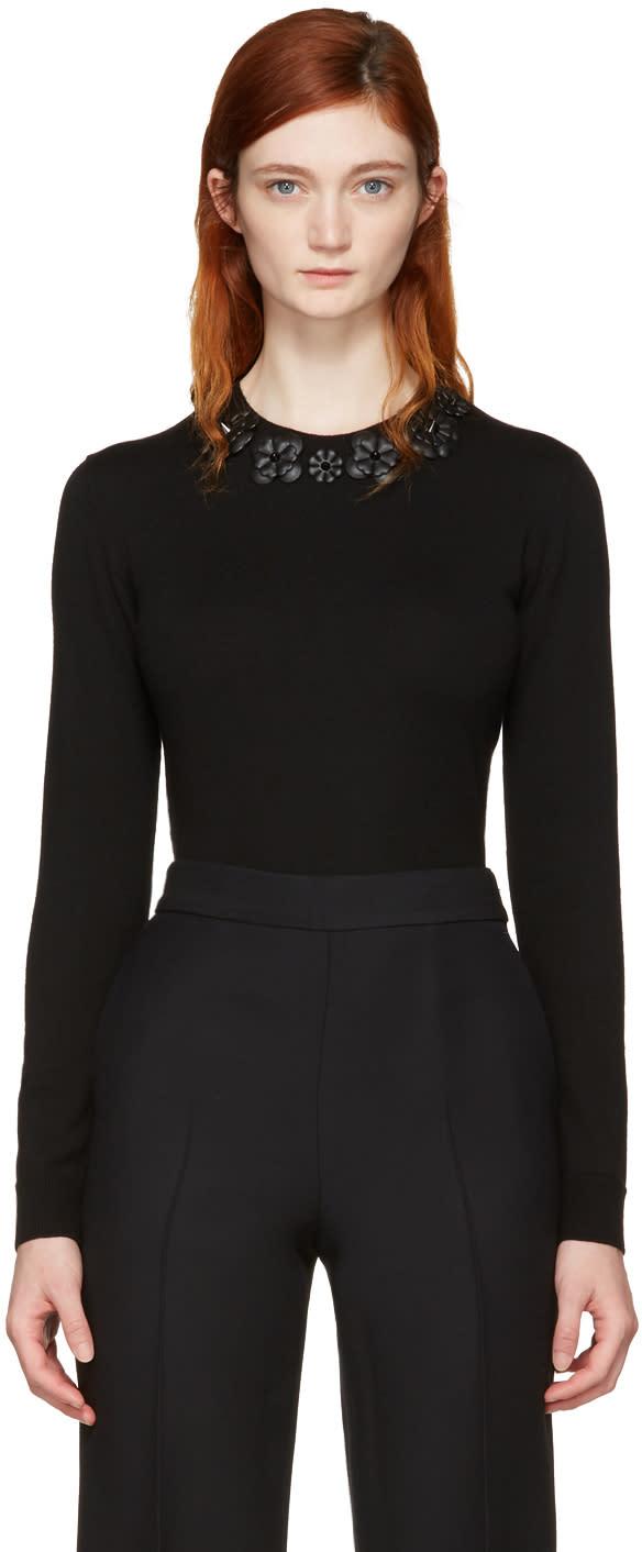Fendi Black Wool Flowers Pullover