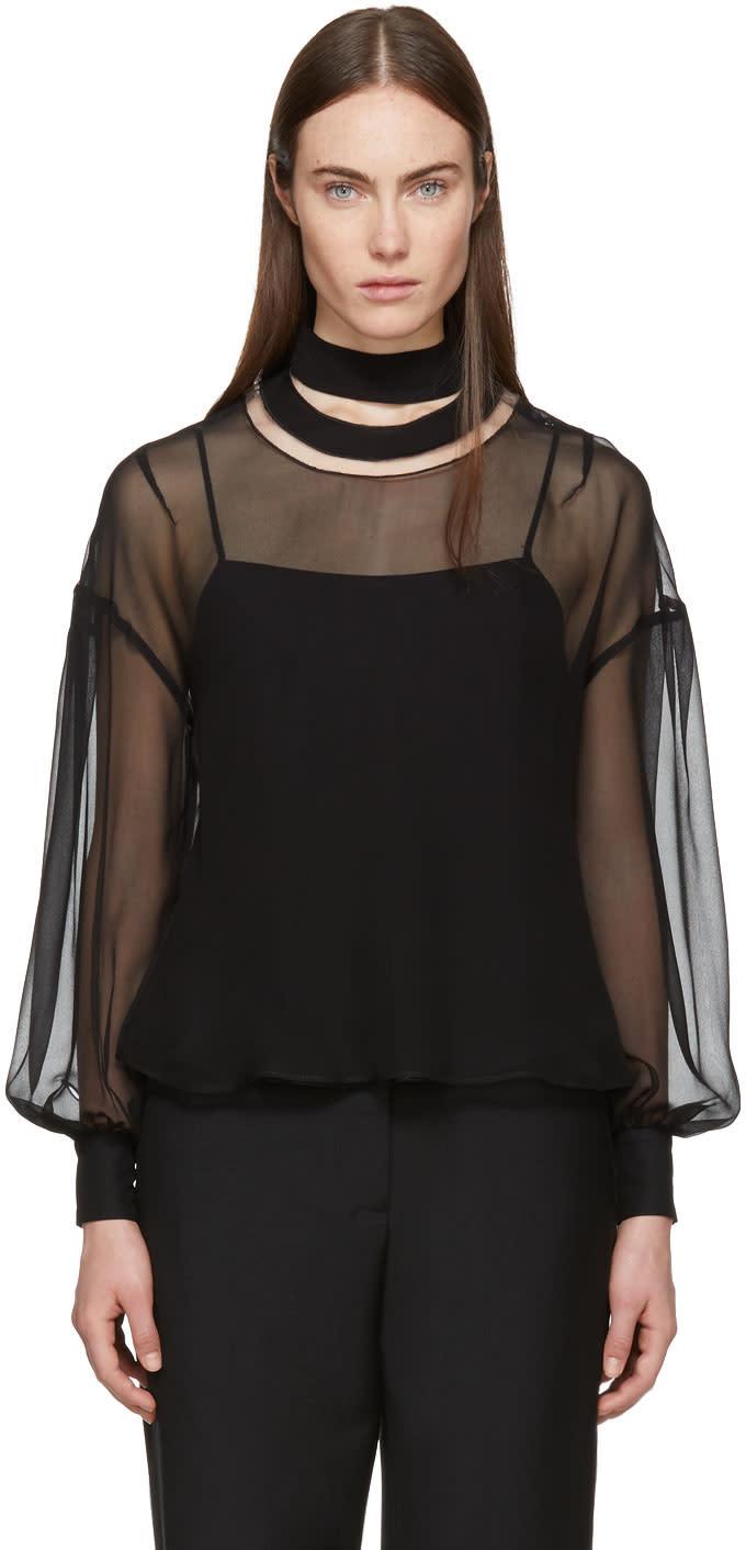 Fendi Black Silk Smiling Collar Blouse
