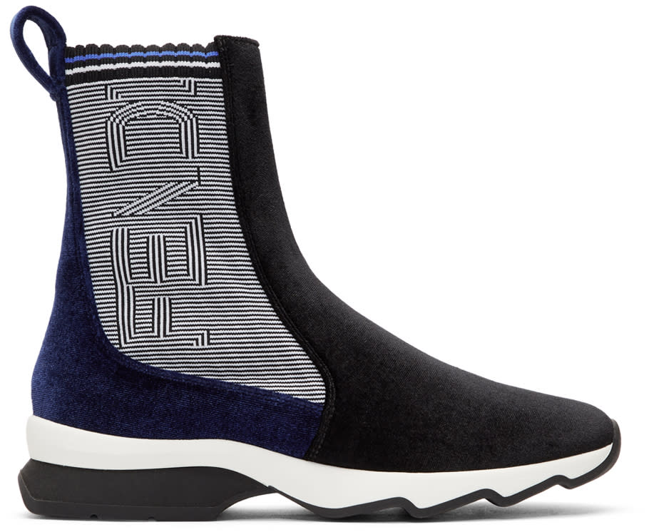 Image of Fendi Black and Blue Logo Velvet High-top Sneakers