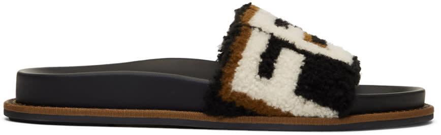 Fendi Black Shearling Logo Slides